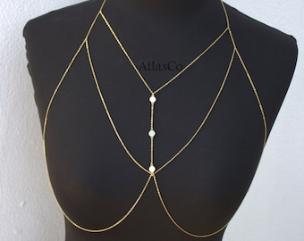 Bra Chain- Gold&Silver SILVIA Bralette Chain - Bra Top - Body Chain - Body Jewelry - Beach Jewelry