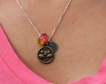 Necklace with initial add-on, Rainbow theme
