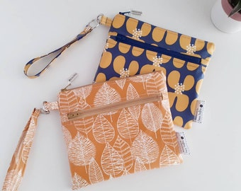 CHOOSE YOUR FABRIC - wipe clean Botanical wristlet pouch