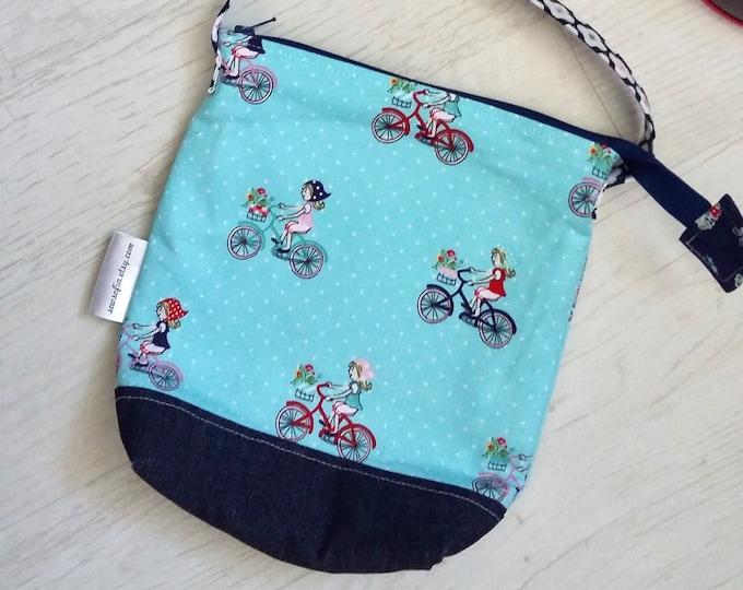 Pale Blue Bicycle Girl bag