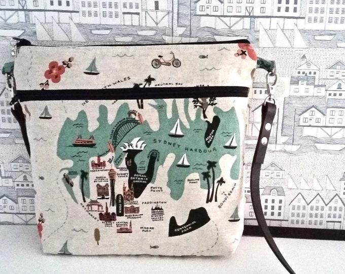 City Maps Sydney + Bangkok canvas cross body bag