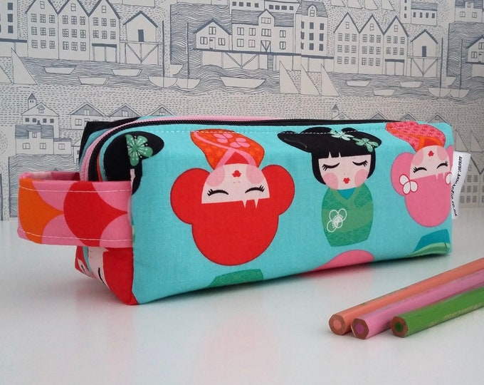 Featured listing image: RARE Kokeshi Dolls double zipped boxy pencil case