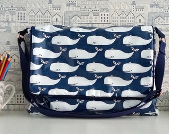 Whales Wipe clean satchel, Large water resistant messenger bag, Student school bag