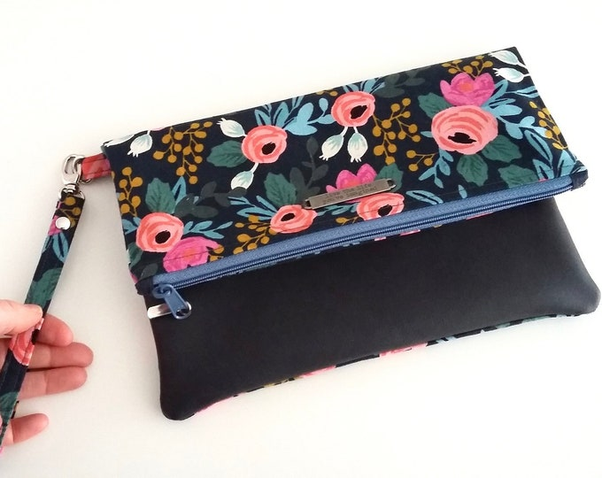 NEW Bella Rosa fold over clutch bag - Rifle Paper Co fabric