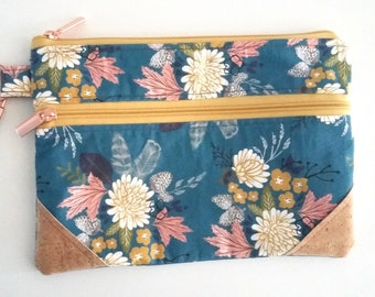 Lake Bouquet Double Zip Clutch Bag