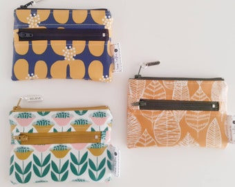 CHOOSE YOUR FABRIC - wipe clean Mini Botanical zip pouch