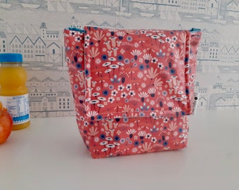 Wildflowers wipe clean, insulated small lunch bag