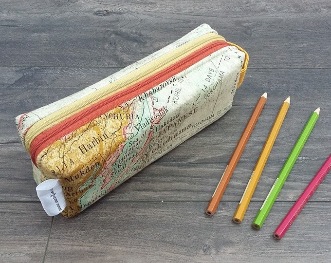 Vintage Maps double zipped boxy pencil case