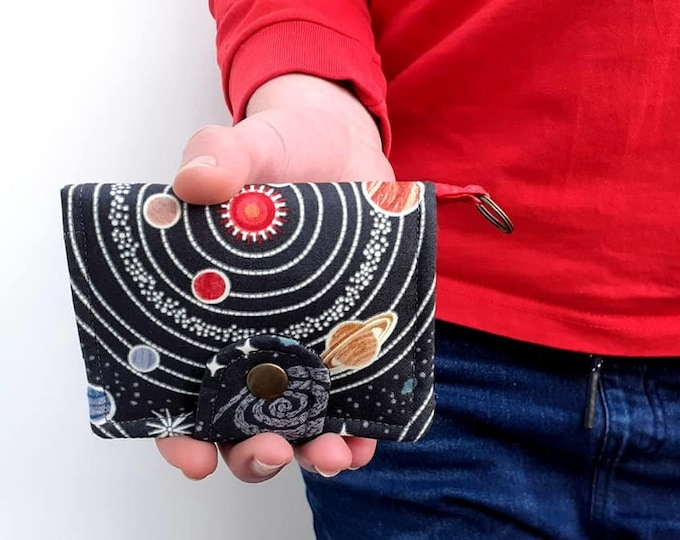 Featured listing image: Planets cotton bifold wallet, small Solar System pocket wallet, Space gift