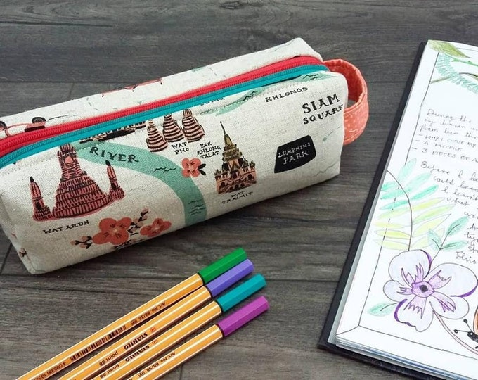 Bangkok City Map double zipped boxy pencil case