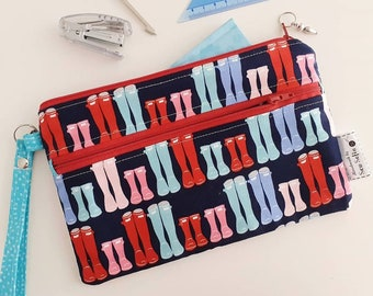 Wellies wristlet pouch - made to order