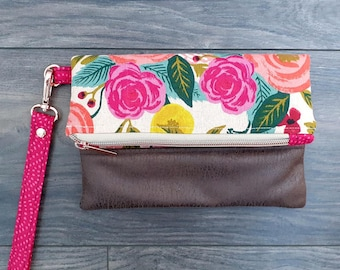 Garden Party fold over wristlet clutch