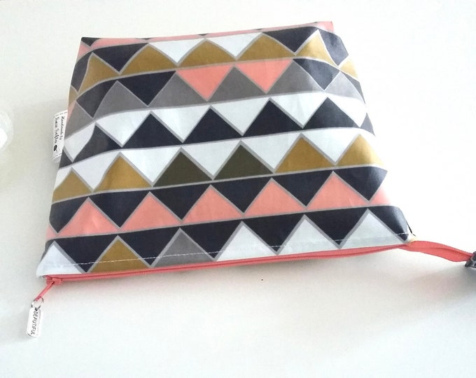 Geometric triangles waterproof toiletry bag