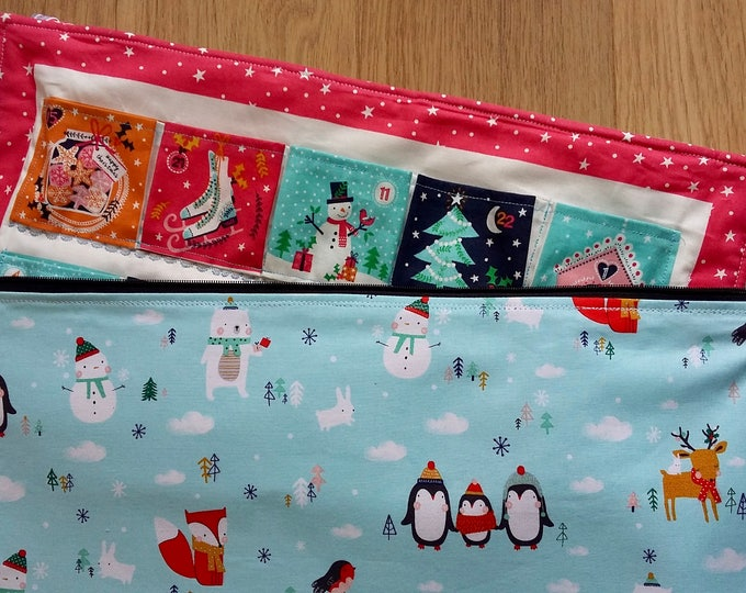 Advent Calendar storage bag - Zipped Storage Bag for quilted fabric Advent Calendars