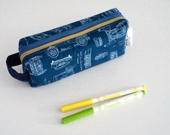 Vintage Cars Blueprint double zipped boxy pencil case