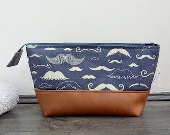 RARE PRINT Moustache Wash Bag