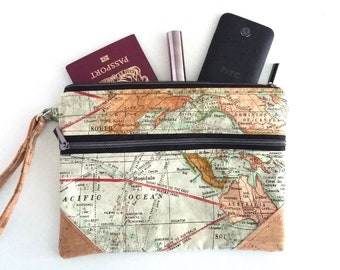 Vintage Maps Double Zip Clutch Bag