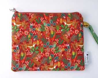 Jungle Menagerie Double Zip Clutch Bag