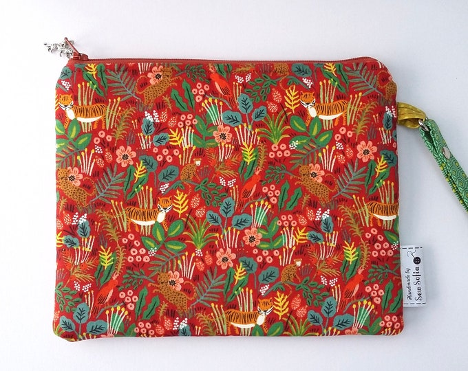 Featured listing image: Jungle Menagerie Padded Wristlet pouch