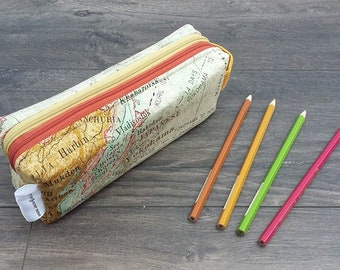 Vintage Maps double zipped boxy pencil case