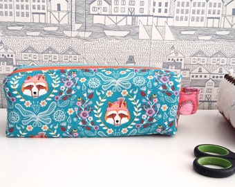 Made to order Foxes double zipped boxy pencil case