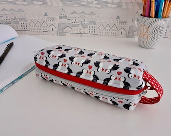 Puffin Love double zipped boxy pencil case