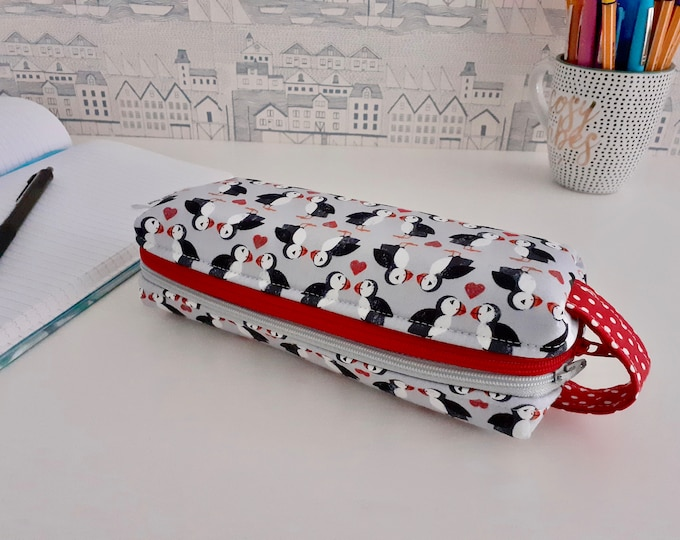 Featured listing image: Puffin Love double zipped boxy pencil case