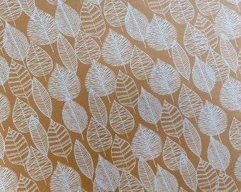 Wipe clean fabric - Line Leaf - wide organic laminated cotton