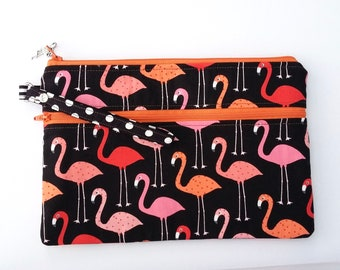 Flamingoes Double Zip Clutch Bag