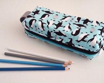Penguins double zipped boxy pencil case