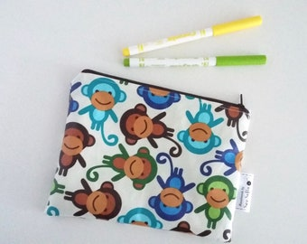 Monkeys wipe clean zip pouch