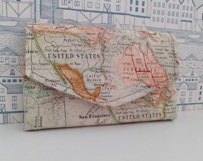 Vintage Maps Flip Clutch Wallet - made to order