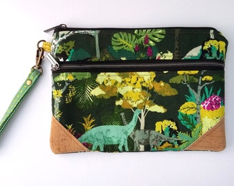 Dinosaurs Double Zip Clutch Bag