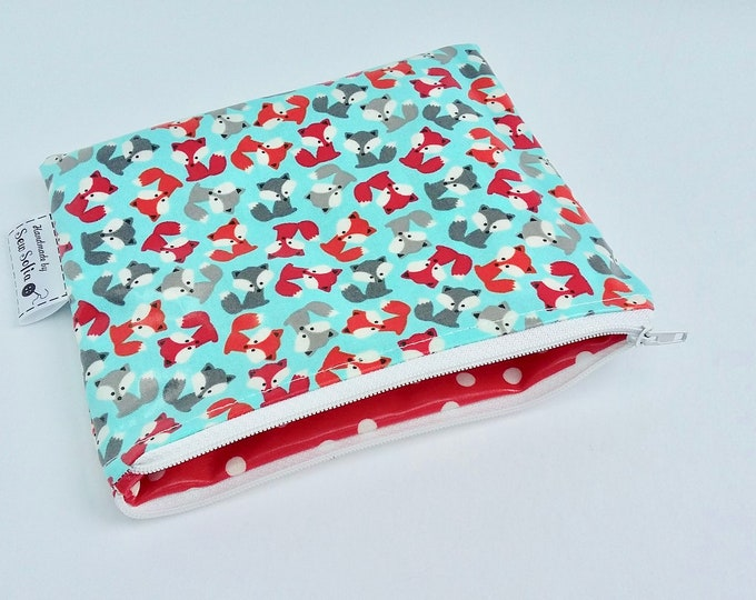 Baby Foxes wipe clean zip pouch - white zip