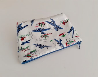 Vintage Planes small wipe clean wash bag