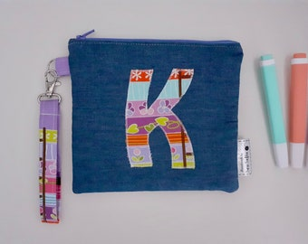 Letter 'K' wristlet pouch - Princess and the Pea
