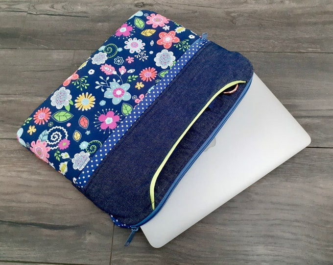 Denim floral laptop case