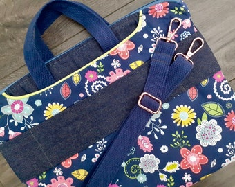 SAMPLE - Denim floral laptop case