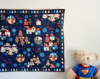 RARE Midnight Blue Christmas Quilted Advent Calendar