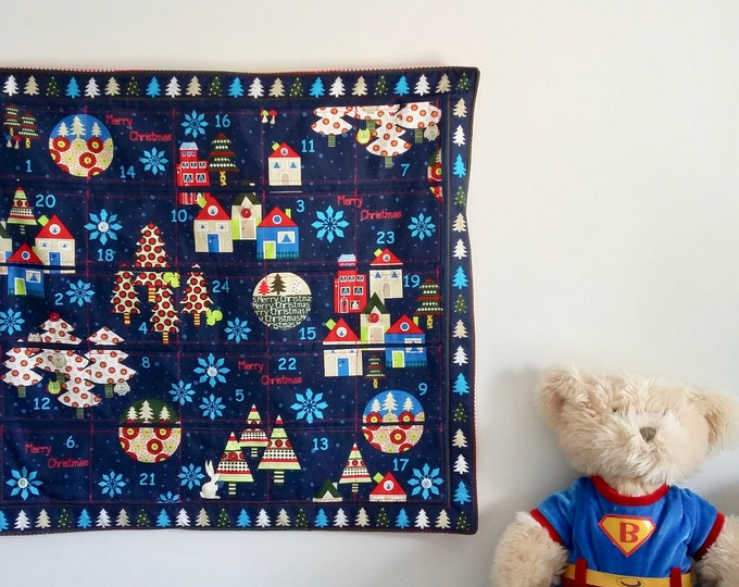 Featured listing image: RARE Midnight Blue Christmas Quilted Advent Calendar