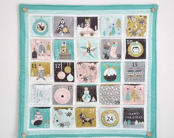 Featured listing image: Merry Little Minty Christmas quilted Advent Calendar