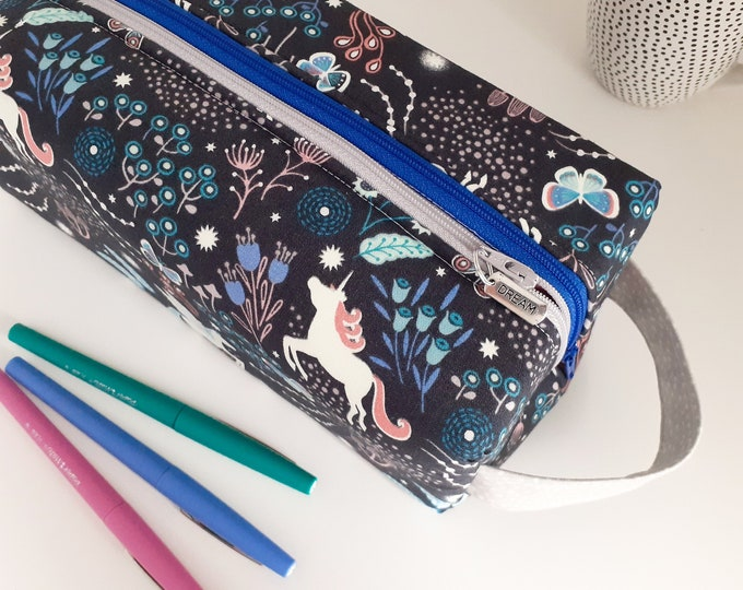 Featured listing image: Unicorns double zipped boxy pencil case - two sizes
