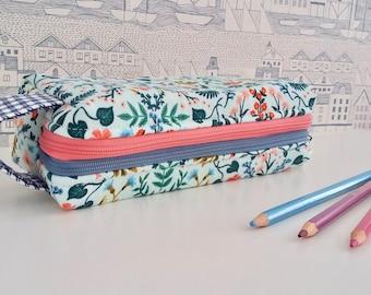 Mint Wildflower double zipped boxy pencil case