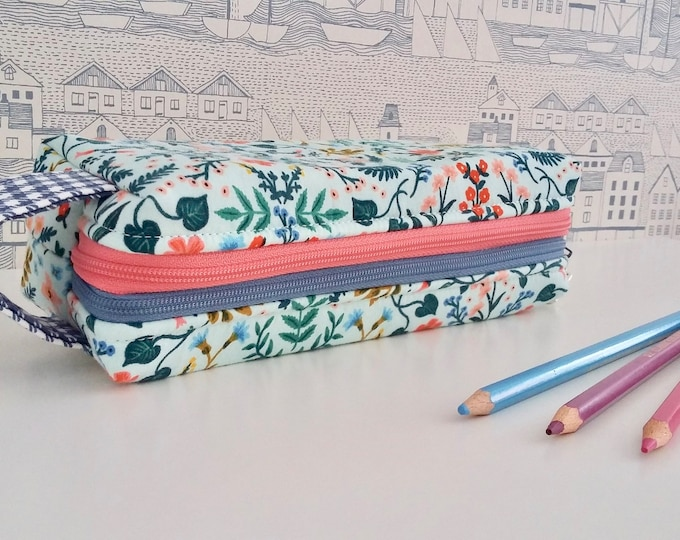 Mint Wildflower double zipped boxy pencil case