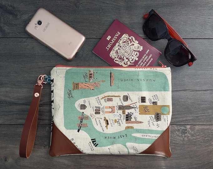 """Featured listing image: Create your """"City Map"""" travel wristlet pouch"""