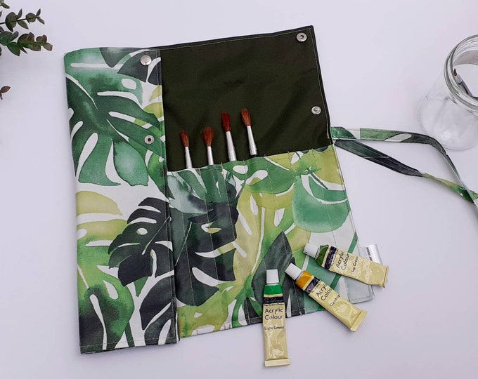 Featured listing image: Monstera Leaf wipe clean artist brush roll