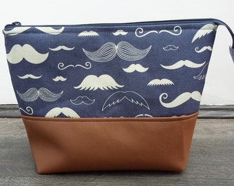 Moustache Wash Bag, Men's Shaving Kit Bag, Male Grooming Toiletry Bag, Father's Day gift, gift for Dad