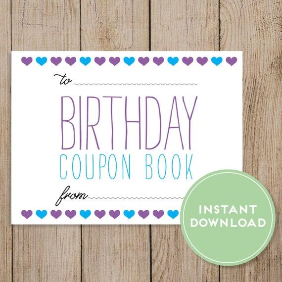 Printable Birthday Coupon Book Editable PDF DIY