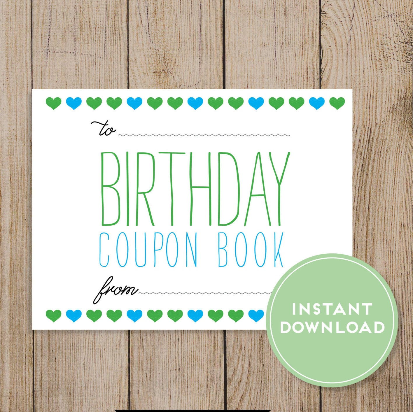 printable birthday coupon book editable pdf diy birthday gift husband wife boyfriend girlfriend mom dad daughter son birthday card