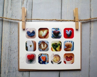 SALE Card, Food Heart Images. Blank-inside with envelope. Found images. Celebrate, thanksgiving, father's day, occasion.